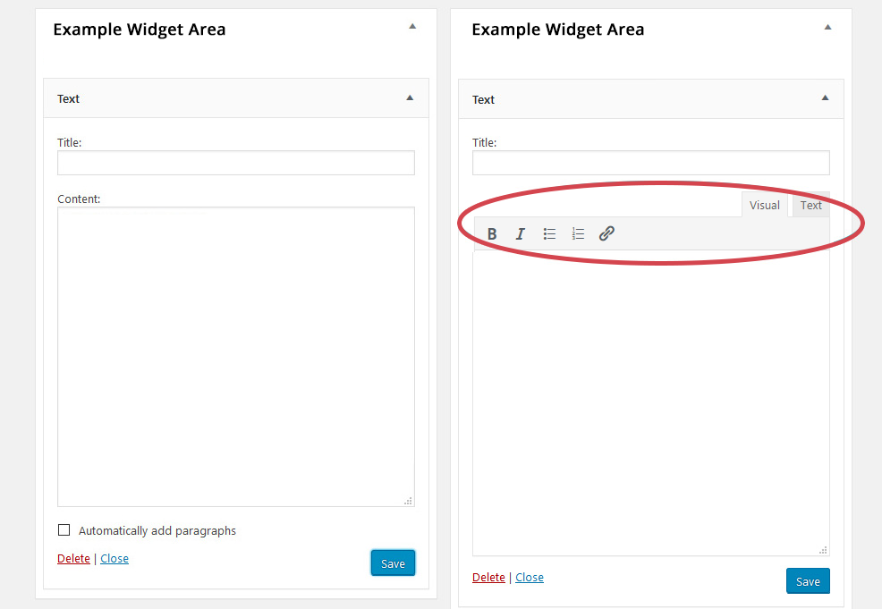 Before & After Text Widgets